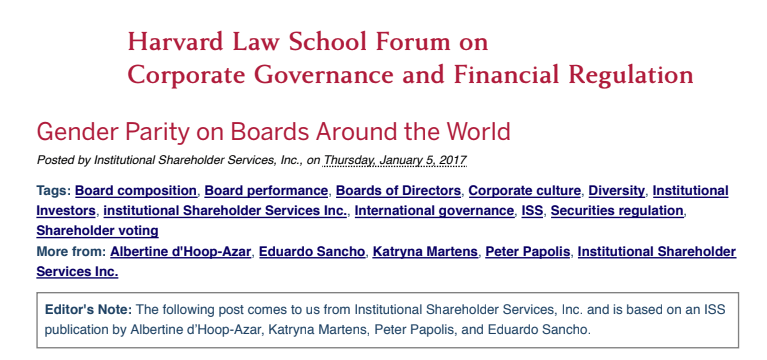 Gender Parity on Boards Around the World – Harvard Law School Forum January 2017